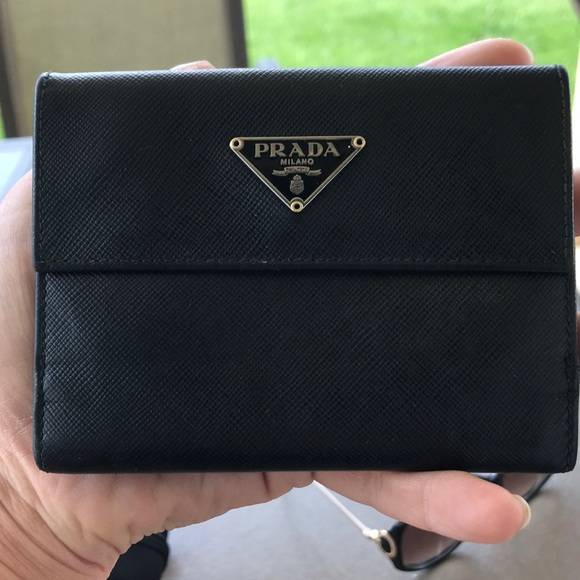 136a543097f7 Prada Bags | Sold Authentic Black Trifold Wallet | Poshmark